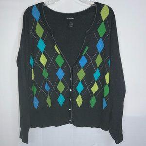 Lane Bryant Gray Cardigan Sweater Bling Button